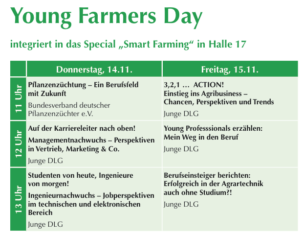 Agritechnica 2013 - Young Farmers Day Programm Auszug Fachprogramm Agritechnica