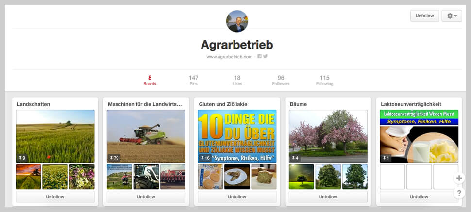 Pinterest Boards Agrarbetrieb
